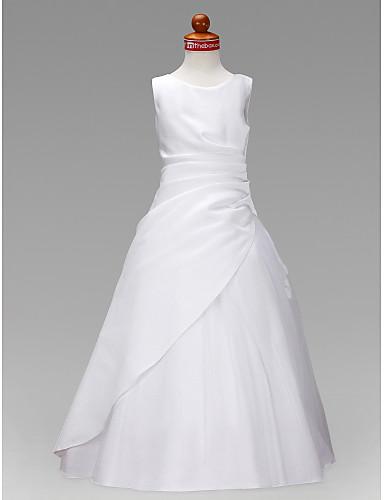 Γραμμή Α / Πριγκίπισσα Μακρύ Φόρεμα για Κοριτσάκι Λουλουδιών - Σατέν / Τούλι Αμάνικο Με Κόσμημα με Βολάν / Πιασίματα με LAN TING BRIDE® / Άνοιξη / Καλοκαίρι / Φθινόπωρο / Χειμώνας / Πρώτη Κοινωνία