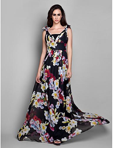 Sütun V Yaka Yere Kadar Şifon Fiyonk / Yan Drape ile Resmi Akşam Elbise tarafından TS Couture® / Açık Sırtlı