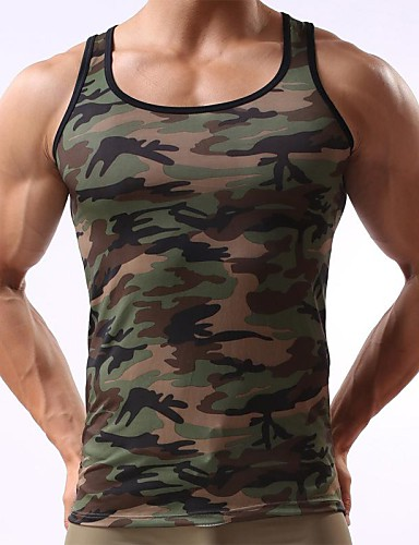 cheap Men's Tees & Tank Tops-Men's Daily Sports Weekend Active Slim Tank Top - Camo / Camouflage Print Army Green L / Sleeveless / Summer