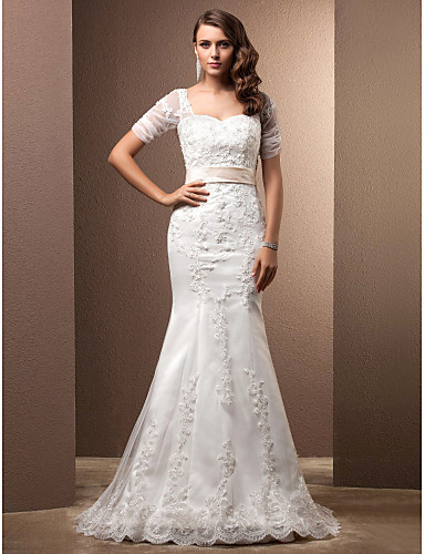 Mermaid / Trumpet Sweetheart Neckline Sweep / Brush Train Lace Made-To-Measure Wedding Dresses with Beading / Appliques / Sash / Ribbon by