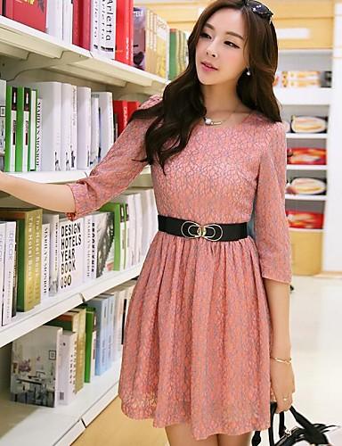 Dámský kulatý límec Pink Roupas Femininas Lace Plus Velikost Half Sleeve Mini Dress