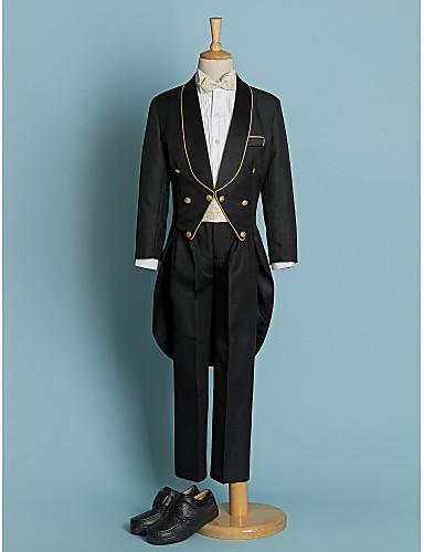 Ivory Black Polyester Ring Bearer Suit - Five-piece Suit Includes  Jacket Pants Waist cummerbund Shirt Bow Tie