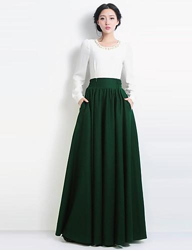 ecd3687aff5 dámské vintage ležérní vlněné vysokým pasem slunce zelená dlouhá sukně