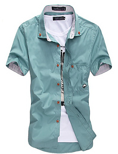cheap Men's Summer Shirts-Men's Daily Weekend Plus Size Slim Shirt - Solid Colored Basic Button Down Collar Wine / Short Sleeve / Summer