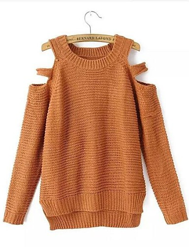 Women's Round Collar Dew Shoulder Sex Loose knitting Pullover Sweater