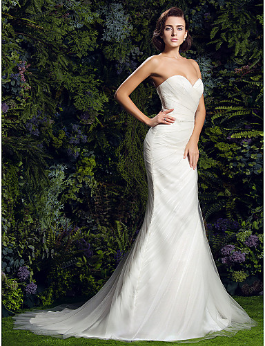 Sheath / Column Sweetheart Neckline Court Train Tulle Made-To-Measure Wedding Dresses with Criss-Cross / Side-Draped by LAN TING BRIDE®