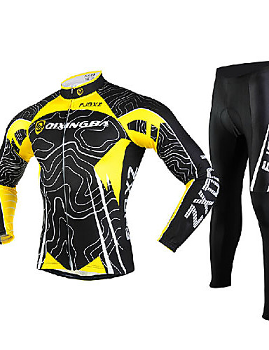 cheap Cycling Clothing-FJQXZ Men's Long Sleeve Cycling Jersey with Tights - Yellow / Black Bike Tights Clothing Suit Windproof Breathable 3D Pad Quick Dry Ultraviolet Resistant Sports Mesh Lines / Waves Mountain Bike MTB