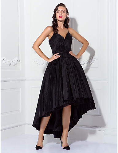 cheap Prom Dresses-Ball Gown Spaghetti Strap Asymmetrical Taffeta Cocktail Party / Prom Dress with Ruched / Pleats by TS Couture®