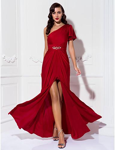 Ίσια Γραμμή Ένας Ώμος Μακρύ Ζέρσεϊ Φόρεμα με Χάντρες   Πιασίματα με TS  Couture® ea2c8aba99b