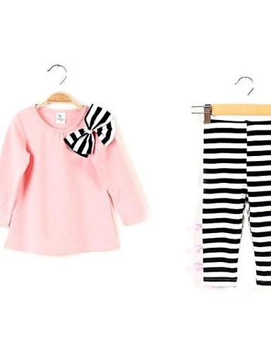 Fete Set Îmbrăcăminte Dungi Primăvară Toamnă Manșon Lung Linii Albastru Închis Roz