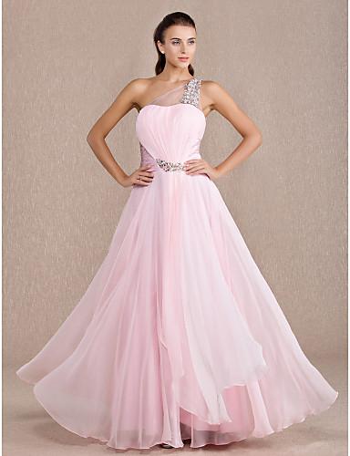 A-Linie Ein-Schulter Boden-Länge Chiffon Stretch - Satin Abiball Kleid mit Gerafft Überkreuzte Rüschen durch TS Couture®