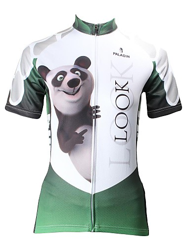 cheap Cycling Clothing-ILPALADINO Women's Short Sleeve Cycling Jersey - Green Animal Cartoon Panda Bike Jersey Top, Breathable Quick Dry Ultraviolet Resistant, Spring Summer, 100% Polyester / Plus Size