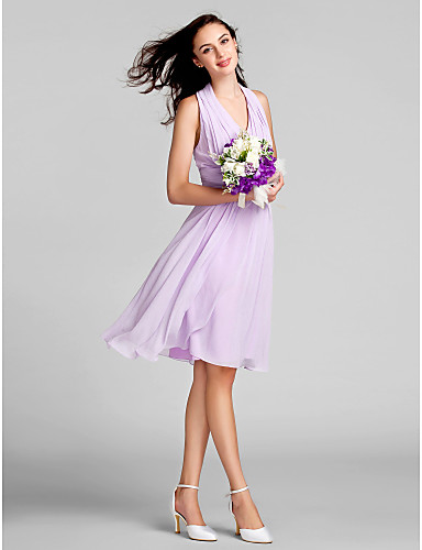 Sheath / Column Halter Knee Length Chiffon Bridesmaid Dress with Draping Ruched by LAN TING BRIDE®