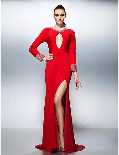Linia -A Bijuterie Trenă Court Tricot Bal Seară Formală Rochie cu Mărgele Detalii Cristal Eșarfă/Panglică de TS Couture®