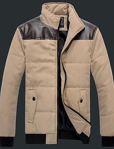 Bărbați Regular Căptușit Palton,Mată Zilnic Plus Size Manșon Lung PU Bumbac Poliester Bumbac