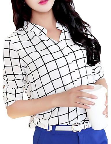 Vrouwen Eenvoudig Lente / Zomer / Herfst Overhemd,Casual/Dagelijks Ruitjes Driekwart mouw Wit Polyester Dun