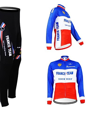 cheap Cycling Clothing-Customized Cycling Clothing Men's Women's Long Sleeve Cycling Jersey with Tights France National Flag Bike Clothing Suit Breathable Waterproof Zipper Reflective Strips Polyester / High Elasticity