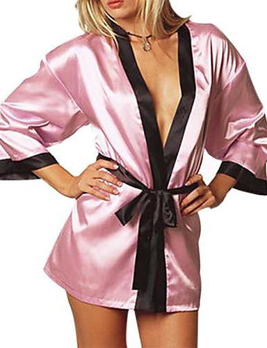 Women Robes Nightwear Patchwork Ice Silk Pink Black