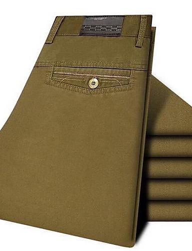 billige Herrebukser og -shorts-Herre Bomull Tynn / Chinos Bukser - Ensfarget Militærgrønn / Arbeid