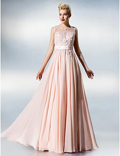 A-linje Illusjon Hals Gulvlang Chiffon Blonder Skoleball Kjole med Blonder av TS Couture®