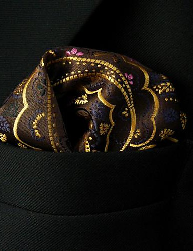 qh24 shlax&πτέρυγα Paisley καφέ κίτρινο ροζ τετράγωνο τσέπη mens μαντήλια μαντήλι