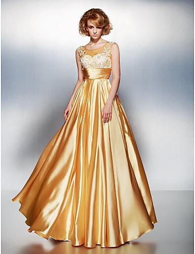 A-Linie Illusionsausschnitt Boden-Länge Stretch - Satin Abiball Kleid mit Applikationen Gerafft durch TS Couture®
