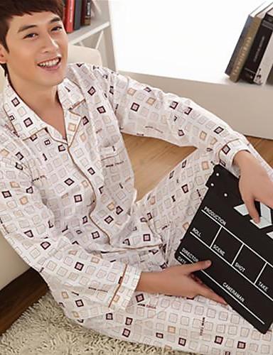 Gömlek Yaka Pijamalar - Desen, Zıt Renkli Erkek
