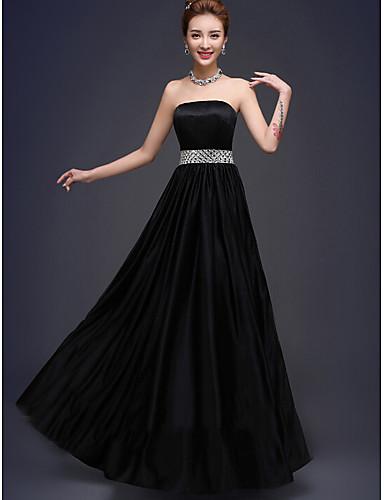 Μακρύ Στράπλες Φόρεμα Παρανύμφων - Κούμπωμα με κορδόνι Αμάνικο Ελαστικό Σατέν