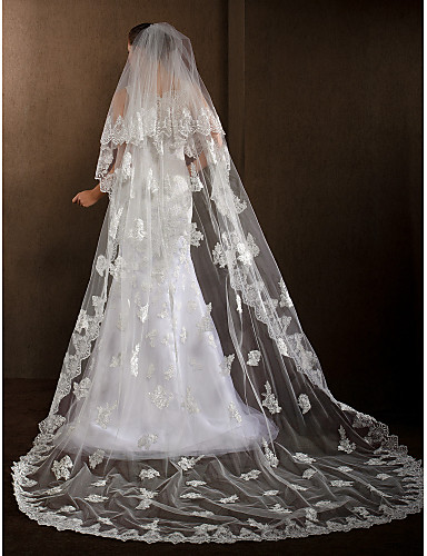 One-tier Lace Applique Edge Wedding Veil Cathedral Veils With 102.36 in (260cm) Tulle