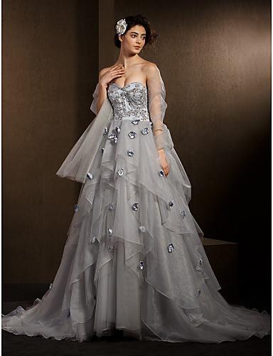 С пышной юбкой Сердцевидный вырез С длинным шлейфом Органза Свадебное платье с Бусины Аппликации Цветы от LAN TING BRIDE®