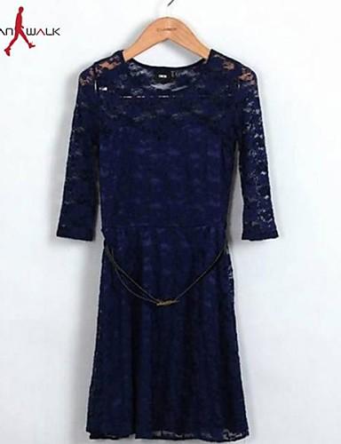 Per Donna Ufficio Cotone Vestito Tinta Unita Medio Al Ginocchio #02272262 Rinfresco