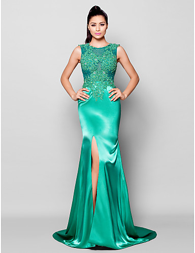 Mermaid / Trumpet Jewel Neck Court Train Charmeuse Formal Evening Dress with Beading Appliques Split Front by TS Couture®