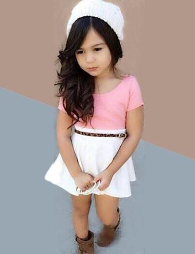Kız Yaz Mikro-elastik İnce Kısa Kol Elbiseler ( Pamuk Karışımları )