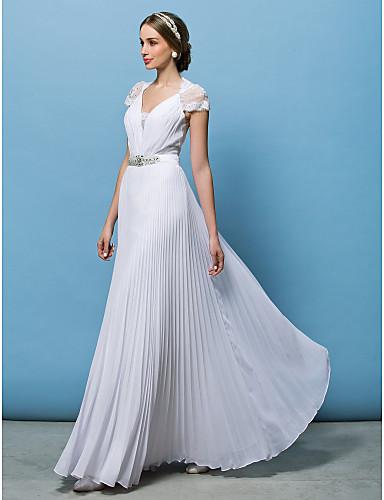 levne Svatební šaty-A-Linie Do V Na zem Šifón Svatební šaty vyrobené na míru s Korálky / Knoflík / Krajkový klín podle LAN TING BRIDE® / Průsvitné