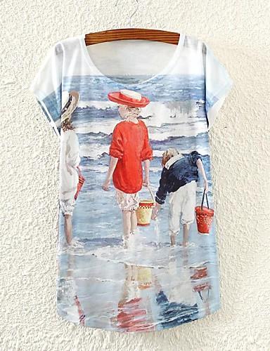 Vrouwen Zomer T-shirt Kleurenblok Ronde hals Korte mouw Wit Dun