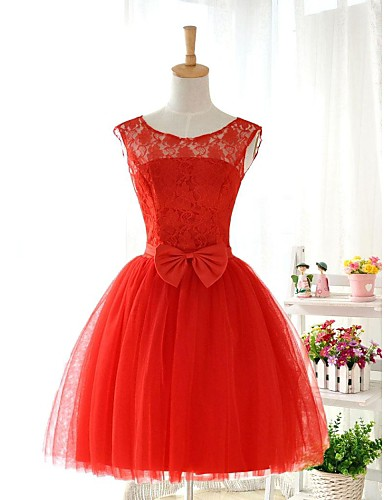 Ball Gown Jewel Neck Knee Length Lace Over Tulle Cocktail Party / Homecoming Dress with Bow(s) Lace Sash / Ribbon by LAN TING Express