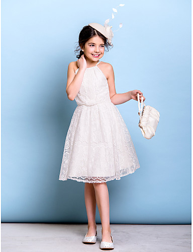 A-Line Spaghetti Straps Knee Length Lace Junior Bridesmaid Dress with Lace Pleats by LAN TING BRIDE®