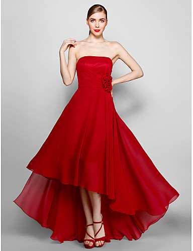 A-Line Strapless Asymmetrical Chiffon Formal Evening Dress with Flower by TS Couture®