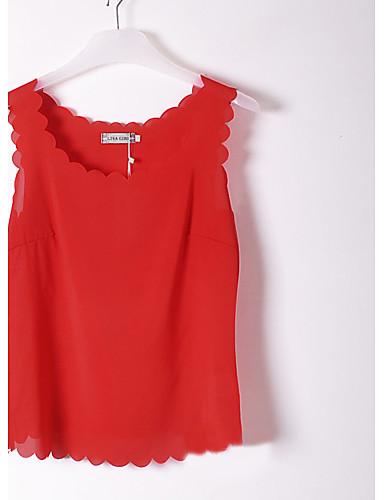 billige Dametopper-Bluse Dame - Ensfarget Grunnleggende Rød