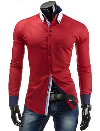 voordelige Herenoverhemden-Heren Standaard Overhemd Effen Buttondown boord Slank Marineblauw / Lange mouw