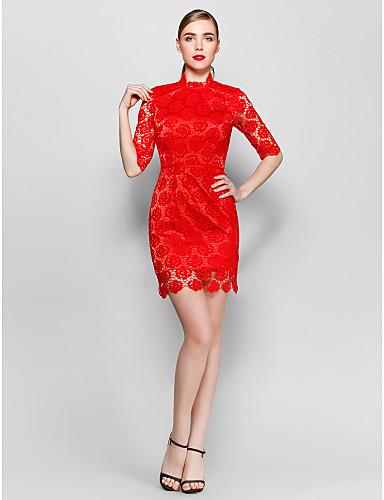 9b2a1f43a Tubinho Gola Alta Curto / Mini Renda Coquetel / Baile de Formatura Vestido  com Renda de TS Couture®