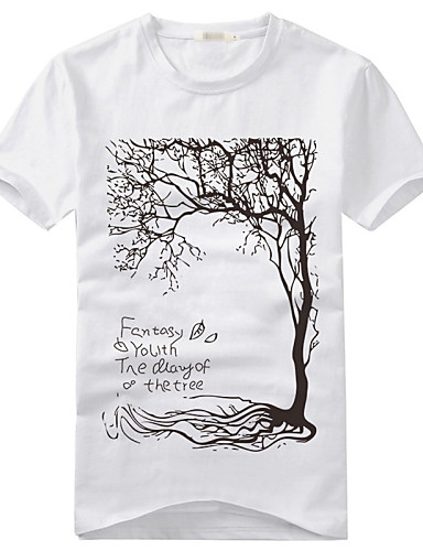 Men's Print Casual T-Shirt,Cotton / Cotton Blend Short Sleeve-Black / White / Gray