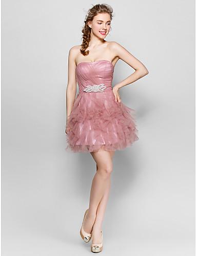 Μέχρι το γόνατο Σχήμα Καρδιάς Φόρεμα Παρανύμφων - Κούμπωμα με κορδόνι Αμάνικο Τούλι