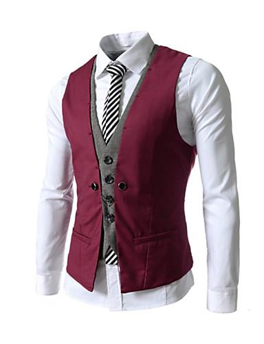 voordelige Herenblazers & kostuums-Heren Singlet Patchwork Slank Zwart & Wit Rood / Mouwloos / Werk / Formeel zakelijk