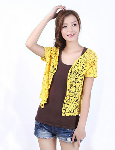 Fashion Women's Casual/Lace/Party Stretchy Hollow Out Thin Short Sleeve Cardigan (100%Cotton)