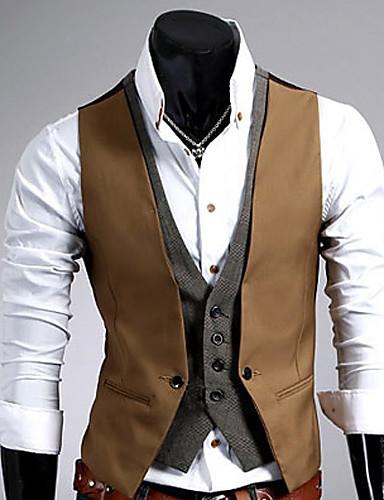 voordelige Herenblazers & kostuums-Heren Werk Vest, Effen Mouwloos Katoen / Polyester Zwart / Bruin / Formeel zakelijk / Slank