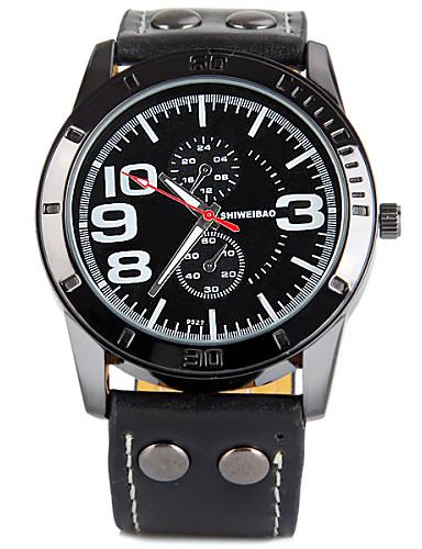 Men's Military Watch Quartz Leather Band Black Brown Brand