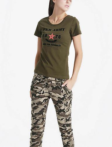 Tee-shirt Aux femmes,Imprimé Décontracté / Quotidien simple Eté Manches Courtes Col Arrondi Vert Coton Moyen