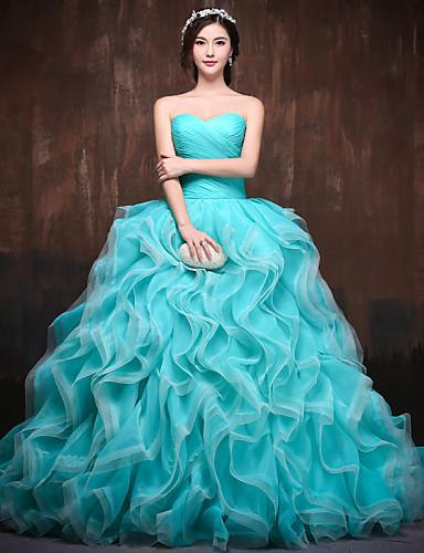 Báli ruha Hercegnő Szív-alakú Kápolna uszály Poliészter Szatén Tüll Hivatalos estély Ruha val vel Fodrozott Cakkos által HUA XI REN JIAO