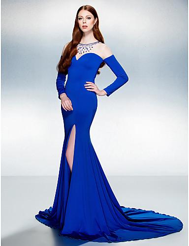 TS couture® официально платье вечера труба Джерси поезд / русалка жемчужина суд с вышивкой бисером / кристалл детализацией / раздельным передней